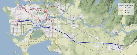 Interurban line, from Richmond Bridgeport to Abbotsford; using  BC Hydro corridors on most of its length
